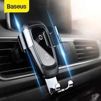 Baseus qi carregador sem fio suporte do telefone do carro para o iphone 11pro samsung suporte do telefone móvel suporte de ventilação ar montagem gravidade carro