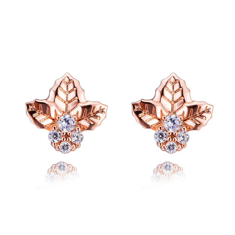 Vintage Fashion Rose Gold Three Leaf White Zircon Stud Earrings For Women Dainty Plant Jewelry Female Cute Small Bee Earrings