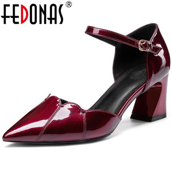 FEDONAS High Quality Spring Summer Cow Patent Leather Slip On Women Pumps  Night Club Point Toe Thick Heeled New Shoes Woman