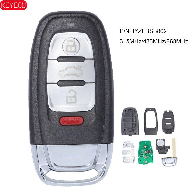KEYECU inteligentny klucz zdalny 4B 315MHz / 433MHz / 868MHz dla Audi A1 A3 A4 A5 A6 A7 A8 Allroad Q3 Q5 Q7 S3 S4 S5 S6 S7 P/N IYZFBSB802
