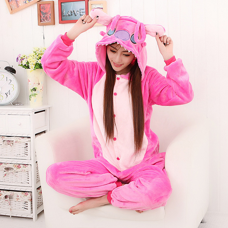 Kigurumi Stitch Pink Blue Women Winter Warm Flannel Cartoon Animal Pajamas Sets Cute Adults Sleepwear Nightie Onesie