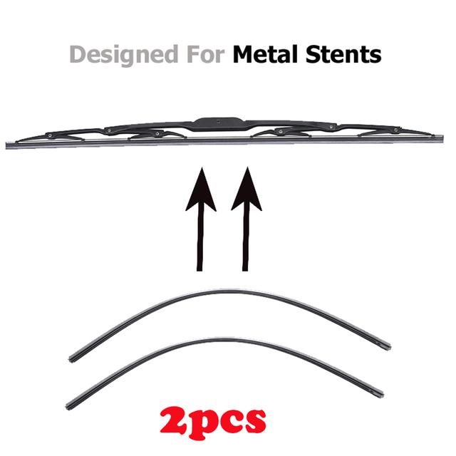 2Pc No Cutting Car Metal Wiper Blade Refill 6mm  14″ 16″ 22″ 24″ 26″ Windshield Windscreen Wiper Refills Replacement Rubber