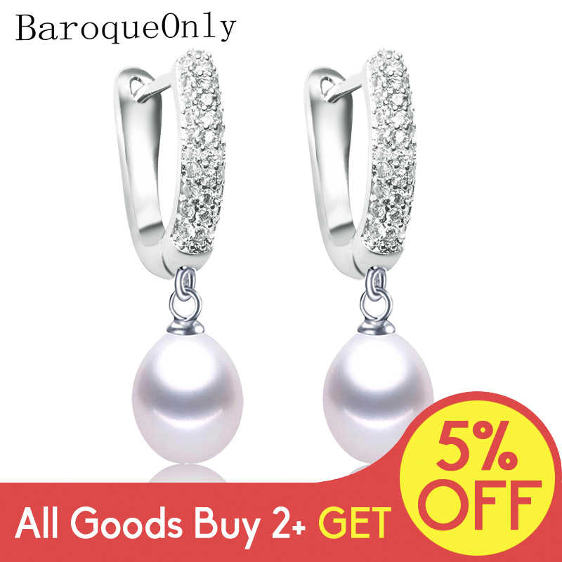 Baroqueonly 925 Sterling Silver Zirkon Lingkaran Alami Air Drop Mutiara Baroque Anting-Anting Perhiasan 2019 Fashion Hadiah Eaw