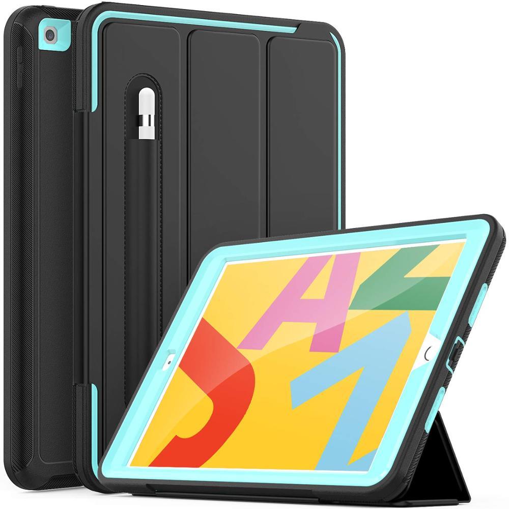 Aqua Blue For iPad 7th Generation Case Flip Heavy Duty Rugged Protective Case with Auto Wake Sleep Smart