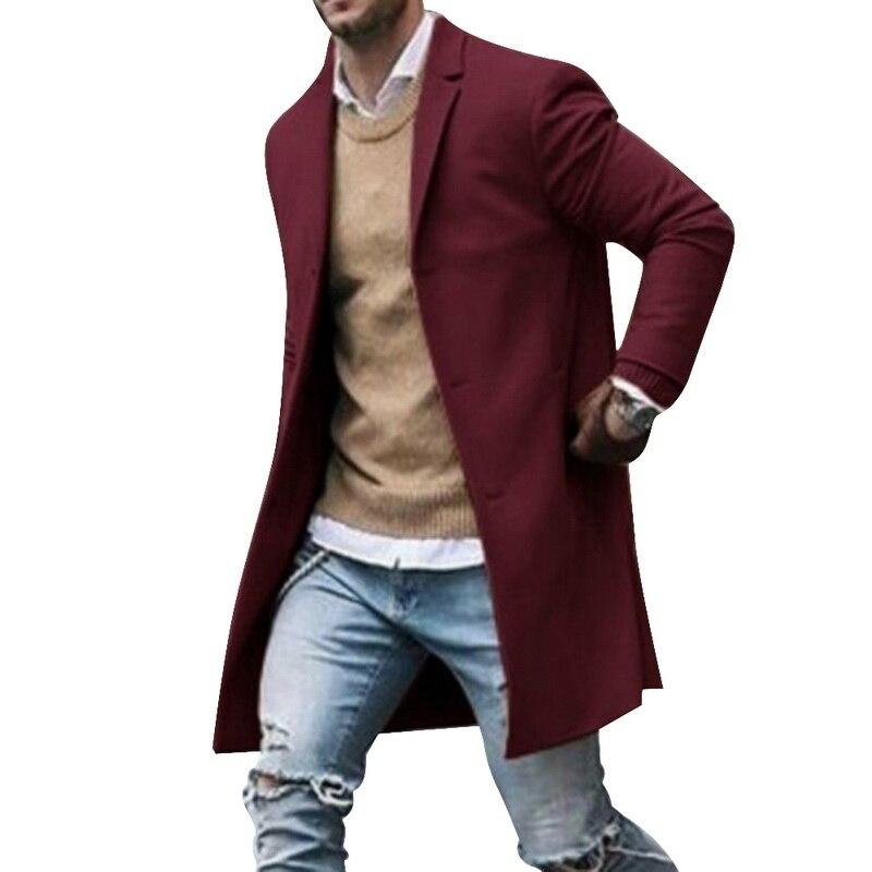 2019 Winter Wool Jacket Men's High-quality Wool Coat Casual Slim Collar Woolen Coat Men's Long Cotton Collar Trench Coat 3