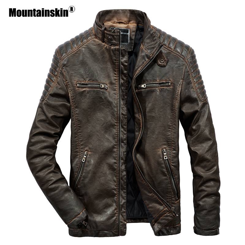 Mountainskin Men Leather Jackets Autumn Winter PU Jacket Motorcycle Coat Fashion Slim Fit Male Casual Coats Brand Clothing SA823