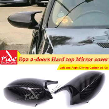 1 Pair L+R For BMW E92 2-Door Hard top 3 Series Sedan Add on Style M3 Look Replacement Real Carbon Fiber Mirror Cover 2006 -2009