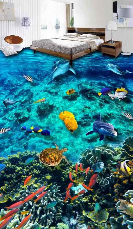 Индивидуальные 3d полы океана мир Звукоизолированные обои для гостиной спальни ванной Настенные обои пол винил