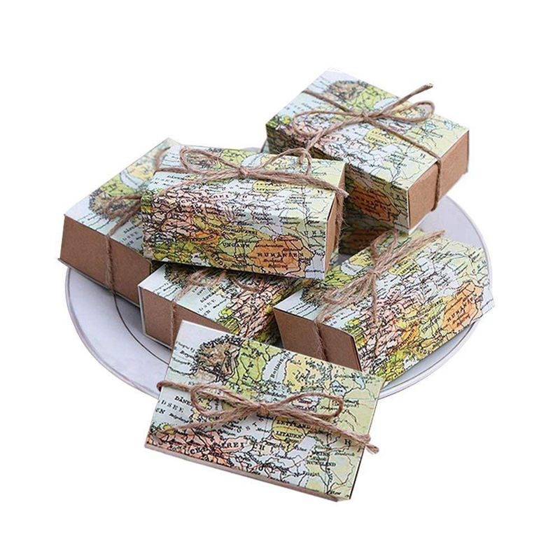 EASY-50 Pcs Around the World Map Favor Boxes Vintage Kraft Favor Box Candy Gift bag for Travel Theme Party Wedding Birthday Brid image