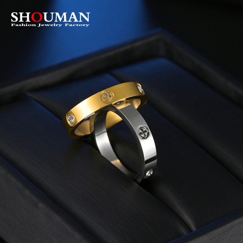 SHOUMAN  Fashion Brand Gold Stainless Steel Ring With Cubic Zircon For Girl Women Men Couple In Wedding With Cross Jewelry