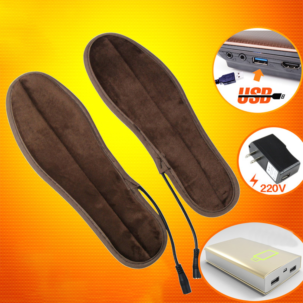 1 Pair USB Heated Shoe Insoles Foot Warming Pad Feet Warmer Sock Pad Mat Winter Outdoor Sports Heating Insoles Warm Comfortable
