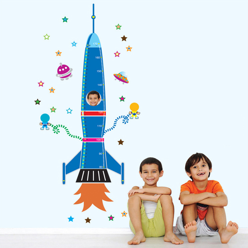 Stickers muraux avec fusée d'espace bleu pour chambre d'enfant, Stickers muraux pour mesure de hauteur, livraison gratuite pour tableau de décoration pour la maison