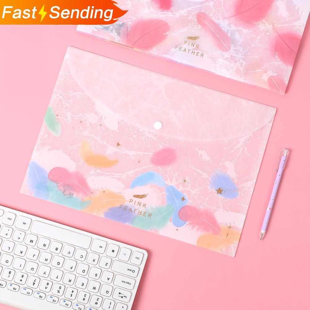 JIANWU 4pcs/set High Quality Creative Bronzing File Bag Cute Feather Texture Folder Bill Bag Kawaii School Supplies