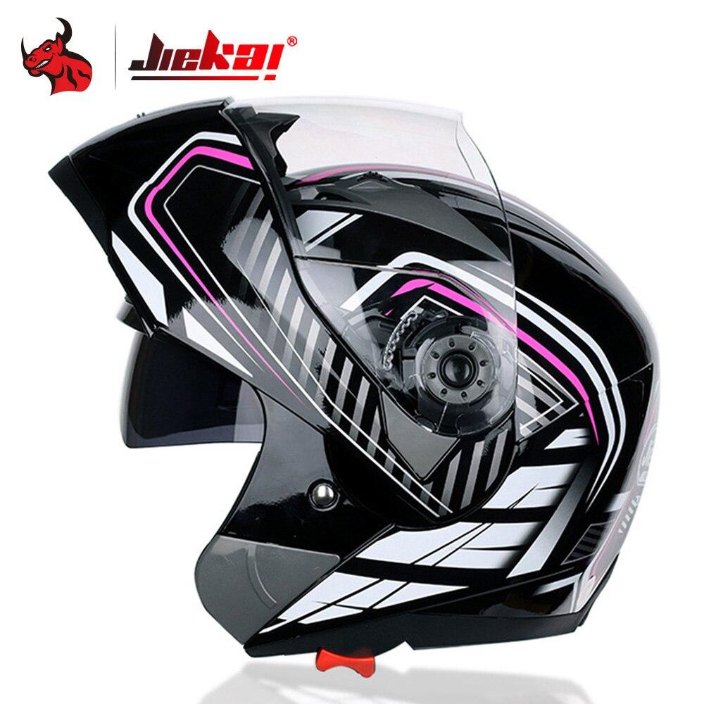 JIEKAI Motorbike Helmet Flip Up Motorcycle Helmet With Inner Safety Sun Visor Double Lens Modular Motocross Full Face Helmet