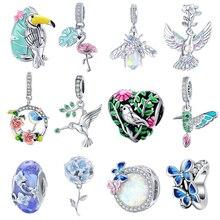 Bisaer 925 стерлингового серебра сад серии Красочные CZ Цветок Птица на эмали Подвески Fit Браслеты-шармы браслеты для ног, сделай сам, ювелирное и...