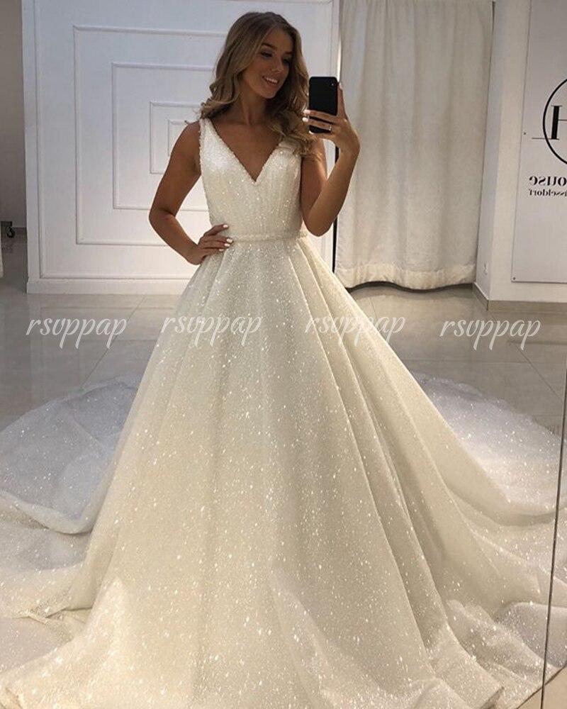 Luxury V-neck Off White Sequin Wedding Gowns Glitter Ivory African Women Bride Wedding Dresses 2019