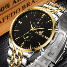цена Brand New Men Watch ORLANDO Fashion Quartz Watch Silver Gold Stainless Steel Watch Mens Watches Man Quartz Clock horloge mannen онлайн в 2017 году