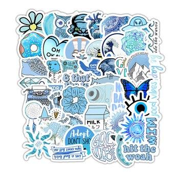 50PCS Cartoon Blue INS Style Vsco Girl Stickers For Laptop Moto Skateboard Luggage Refrigerator Notebook Laptop Toy Sticker F5