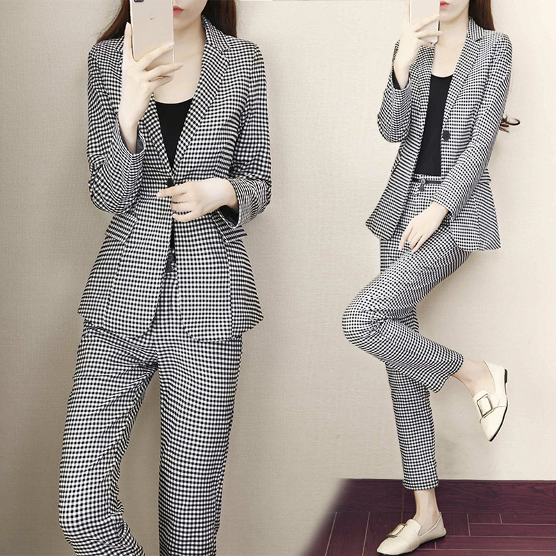 Women's Suit 2019 Autumn New Fashion Casual Temperament Slim Plaid Single Buckle Small Suit Trousers Two-piece