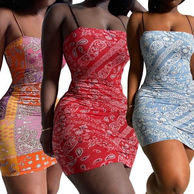 Bandana Print Bodyocn Mini Dress Women Sleeveless Spaghetti Strap Strapless Skinny Summer Dress Sexy Club Night Party Dresses 5