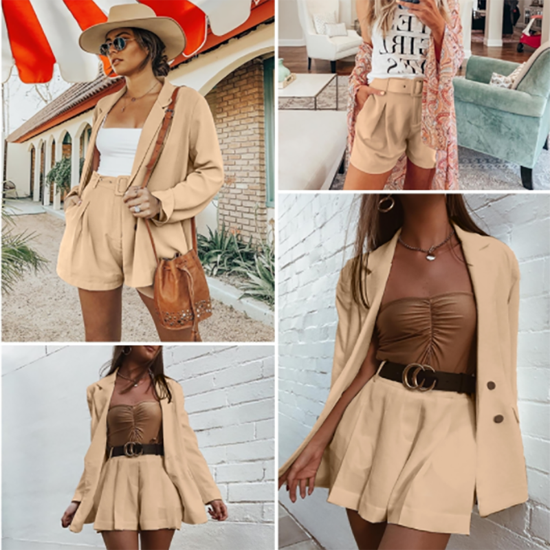 Elegant 2 Pcs Women Short  Blazer Suit Casual Streetwear Female Blazer Sets Chic 2019 Office Ladies Women Blazer Suits