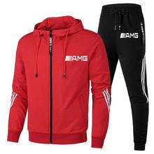 New 2-piece Set AMG Printed Men's Hooded Sweatshirt + pants Pullover Hoodie Sportswear Suit Casual Sports Men's Sportswear