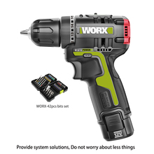 WORX 12V Brushless motor Cordless electric Screwdriver WU130 professional tool with 42PCS Drill Bits Set