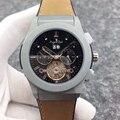 Luxe Merk Nieuwe Mannen Automatische Mechanische Horloges Titanium Grijs Zwart Blauw Rubber Leer Tourbillion Transparante Sport Horloge