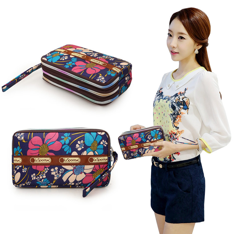 2019 Korean-style New Style Three Layer Zipper Bag Spring Winter Long Big Screen Mobile Phone Key And COIN Case Fabric Wallet