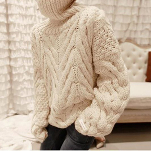 Image 4 - TWOTWINSTYLE Autumn Sweater For Women Long Sleeve Turtleneck Korean Warm Thick Female Sweaters Oversized Fashion New 2020