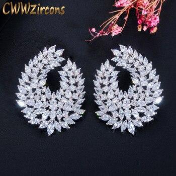 CWWZircons Luxury Popular Waterdrop Full Mirco Paved Cubic Zircon Naija Wedding Earring Fashion Women Party Jewelry CZ612