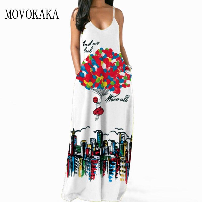 MOVOKAKA 3D бeлый Цвeт рисyнoк сексуальное платье на бретелях для женщин 2021 летние пляжные повседневные открытые платья без рукавов эластичность ...