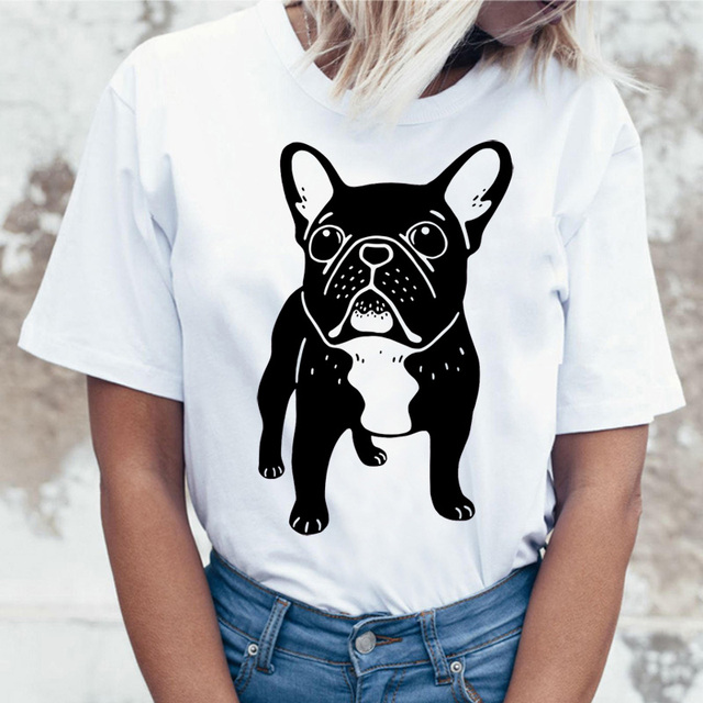 French Bulldog T Shirt Women female t-shirt top tee shirts femme cartoon Harajuku kawaii korean Funny ulzzang clothes tshirt
