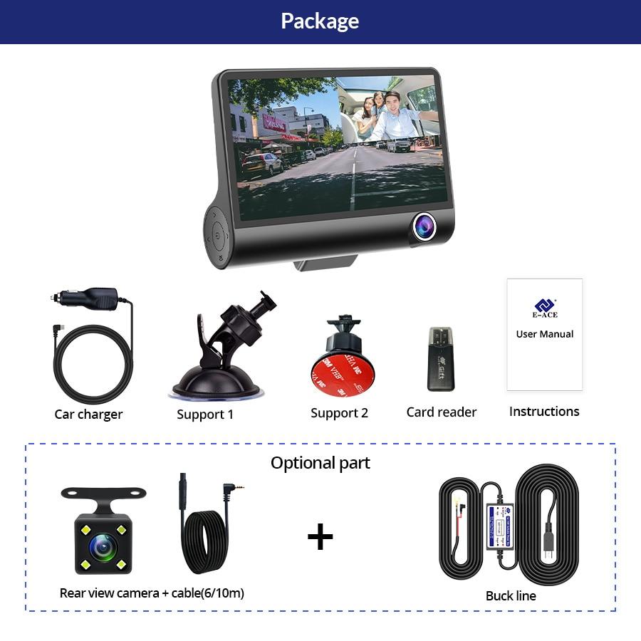 E-ACE B28 Car Dvr Dash Cam 4.0 Inch Video Recorder Auto Camera 3 Camera Lens With Rear View Camera Registrator Dashcam DVRs 6