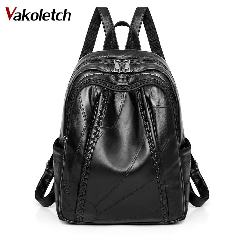Genuine Leather Water Proof Bag Pack Women Bag Weaving Hot Sale 100% Genuine Leather Women School Backpack For Student KL669