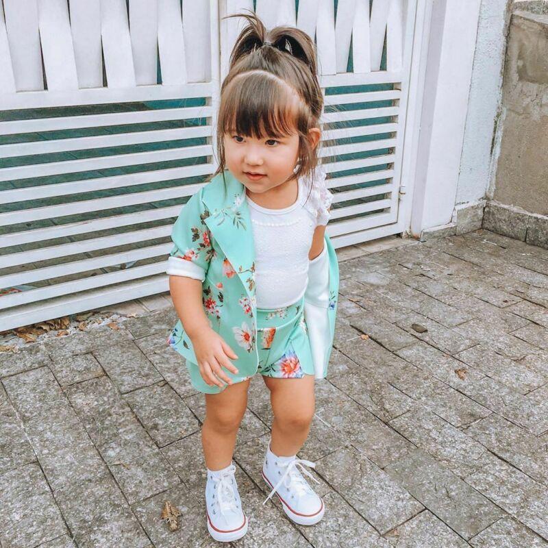 Children's Girls 2Pcs Set Long Sleeve Floral Coat Button Spring Outwear + Shorts Two-piece Suit Kids Suit Fashion Clothes Sets