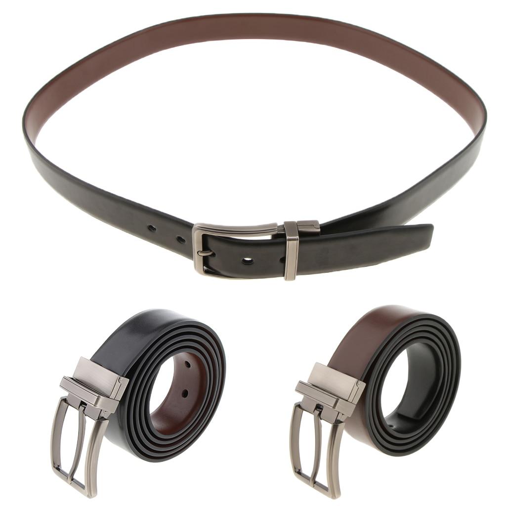 Luxury Leather Belts For Men Reversible Premium  Belt Buckle Waist Belt Rotatable Pin Buckle Belt Strap Waistband Ceinture Homme