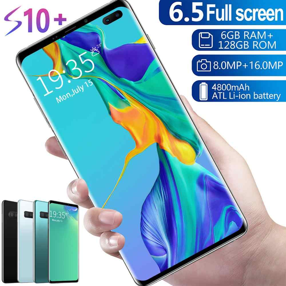 S10 + Smartphone Vollbild 6GB + 128GB 8 core Android 9.1 Finger Gesicht ID Dual Kamera 4G Smart mobile Handy Hörer