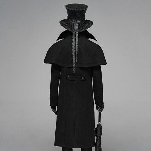 PUNK RAVE Mens Gothic Dark Cloth Shoulder Cloak Detective Mystery Simple Coat Club Stage Performance Fall Winter Mens Jackets Karachi