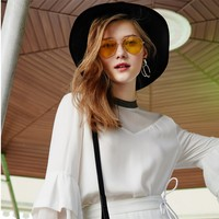 Hohe qualität HD unisex Mode Spiegel sonnenbrille pilot sonnenbrille gelb nachtsicht gläser für männer frauen