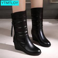 Winter Warm Fur Boots Womens Boots High Heels Side Zipper Fe