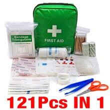 Kit de primeiros socorros para acampamento, kit verde de tratamento de emergência para atividades ao ar livre, caminhadas, carro, 121 peças