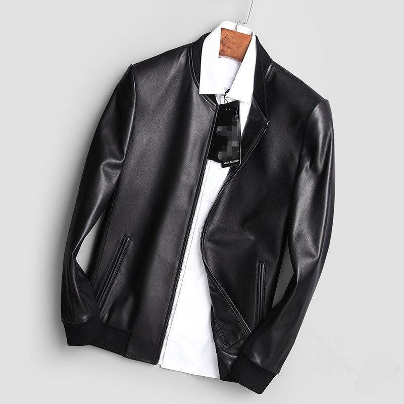 YOLANFAIRY 2020 Genuine Leather Jacket Men Real Sheepskin Leather Bomber Jacket Spring Autumn Plus Size Coat MC17C094 MF596