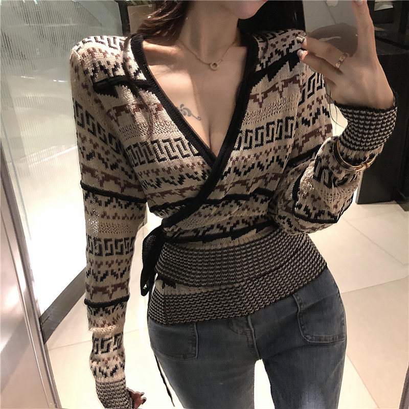 GRUIICEEN Wrap V-neck Sexy Sweater Women's Autumn And Winter Slim Knitted Long Sleeve Pullovers Top With Belt GY2019212