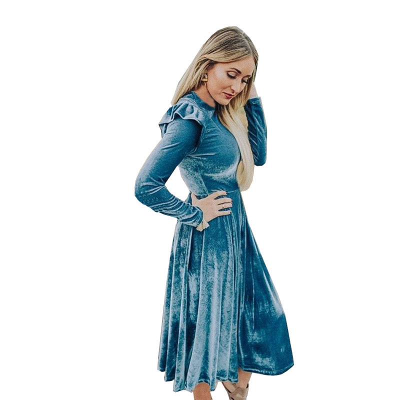 Image 2 - 3XL облегающее женское бархатное платье, модное осенне зимнее платье, повседневное ТРАПЕЦИЕВИДНОЕ ПЛАТЬЕ средней длины с круглым воротником и длинным рукавом, элегантные платья Vestidos-in Платья from Женская одежда on AliExpress