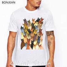 Whimsical Cats Art tshirt many kitties animal print mens funny t shirts white shirt men camiseta masculina tops tumblr clothes