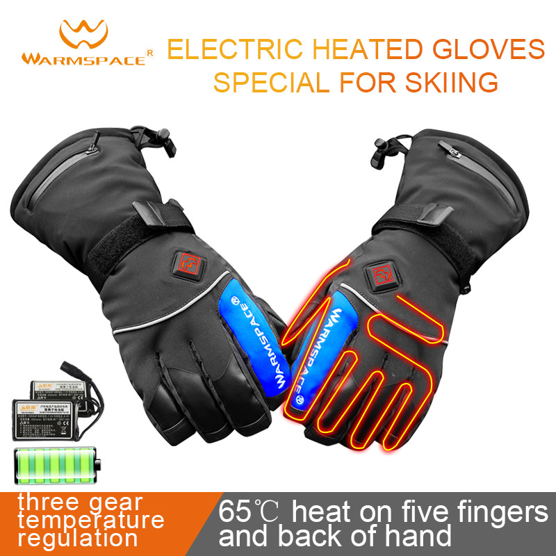 Clearance Smart Electric Heating Gloves,Waterproof Li-Battery Self Heated Finger/Hand Back,3gear Warm 6H Touch Screen Ski Gloves