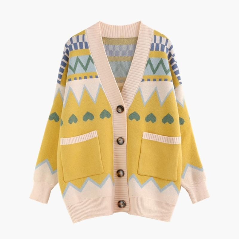 New 2019 Autumn Winter Women Sweater Cardigan Knitted V Neck Retro Vintage Geometric Oversize Cardigans Manteau Femme Hiver