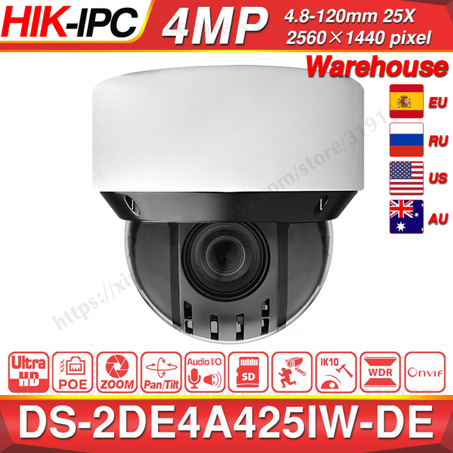 Pre verkauf Hikvision Original PTZ IP Kamera DS 2DE4A425IW DE 4MP 4 100mm 25X zoom Netzwerk POE H.265 IK10 ROI WDR DNR
