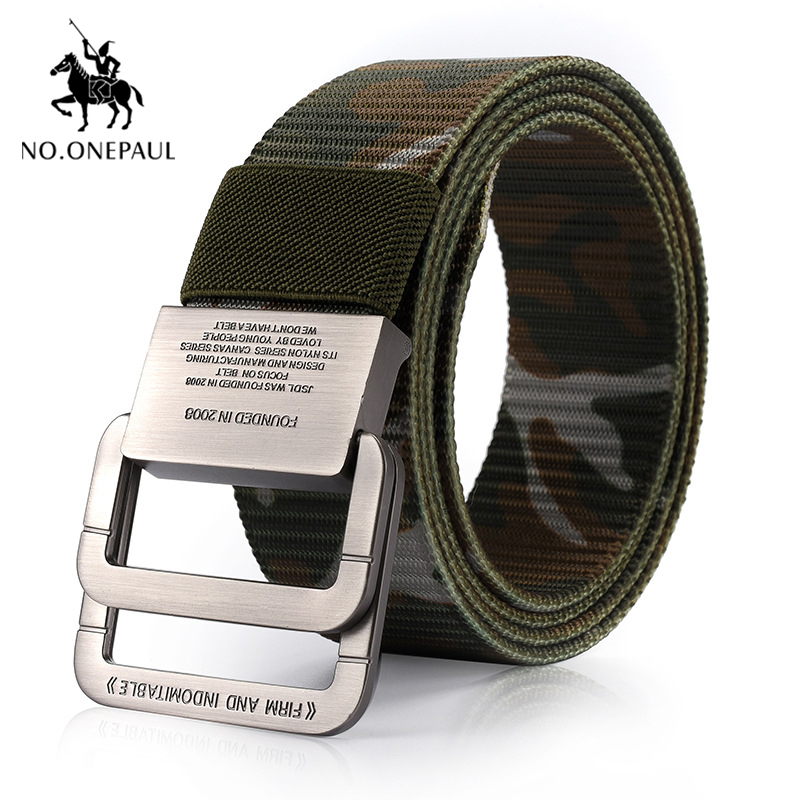 NO.ONEPAUL Men's Tactical Belt Outdoor Sports Hook Metal Buckle Tactical Belt Military High Quality Nylon Training Belts Men